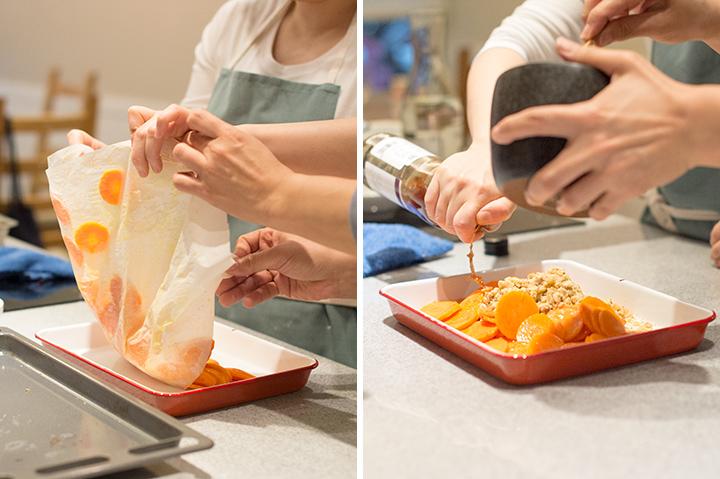 烤新紅蘿蔔的核桃與小茴香