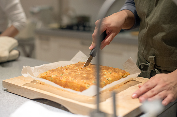 青豆與鮮蝦的 cake salé