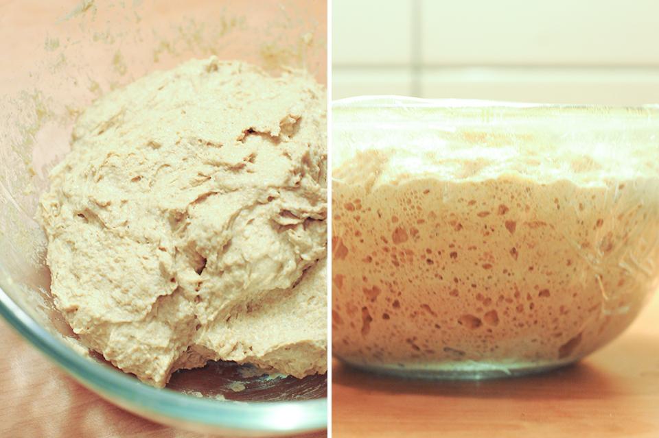 鐵鍋烤免揉歐式麵包之麵糰製備