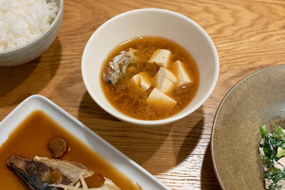 竹莢魚豆腐味噌湯